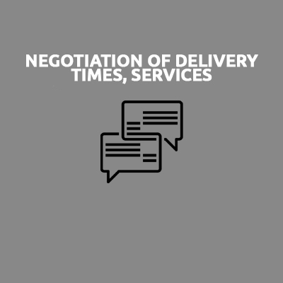 NEGOTIATION OF DELIVERY TIMES, SERVICES